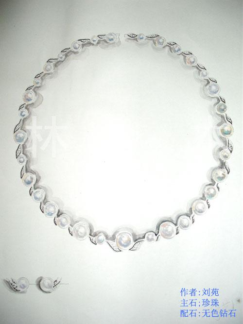 学生手绘作品--珍珠套件设计作品 - 北京林木靖茹珠宝