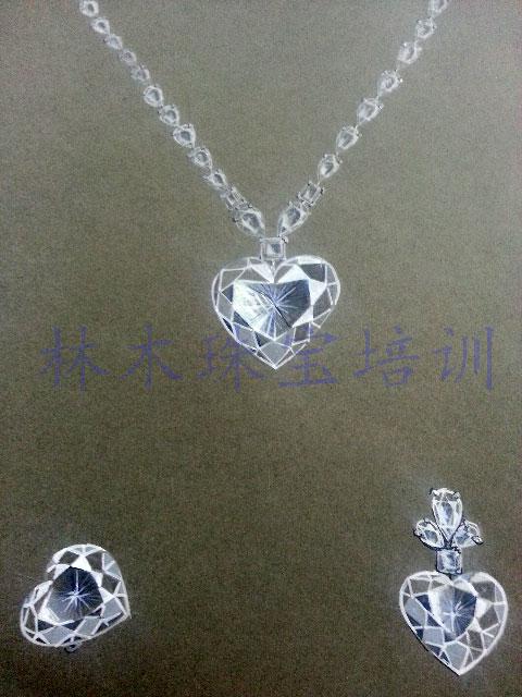 手绘表现《钻石项链》设计作品 - 北京林木靖茹珠宝 .