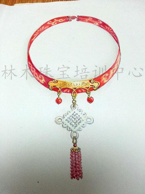 刘雅慧同学参加珠宝设计大赛作品手绘设计作品